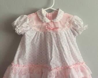 Vintage 1980s Cradle Togs Infant Girls Floral Print Dress with Frilly Hem 6-9 Months