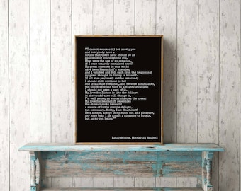 Bedroom Decor, Wuthering Heights Print, Emily Bronte Living Room Decor, Romantic Book Quote Typography Wall Decor, My Love for Heathcliff
