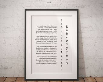 Robert Frost Quote Poetry Wall Art, Road Less Travelled Poem Poster, Two Roads Diverged Literary Gift Print, Poetry Print