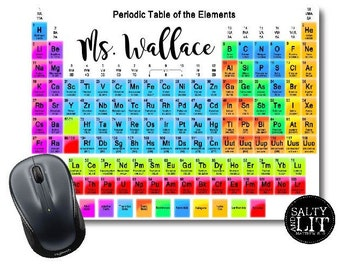 Personalized Teacher Periodic Table of Elements Mouse Pad | Chemistry Mousepad | Science Mouse Pad |Teacher Gift |