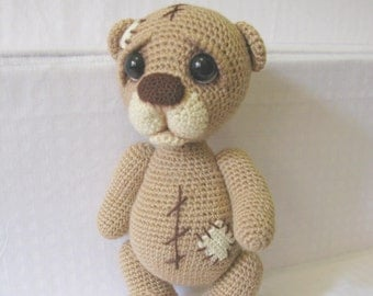 Crochet Teddy bear/ Teddy bear/ Soft bear toy/ Stuffed teddy bear/ Сute bear/ handmade bear/ Chocolate bear/ Gift girl/ Gift her/ ooak bear