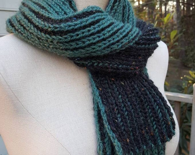 Handmade Knitted Warm Soft Brioche Knitted Two-Color Wool Scarf Black Teal Green Jade