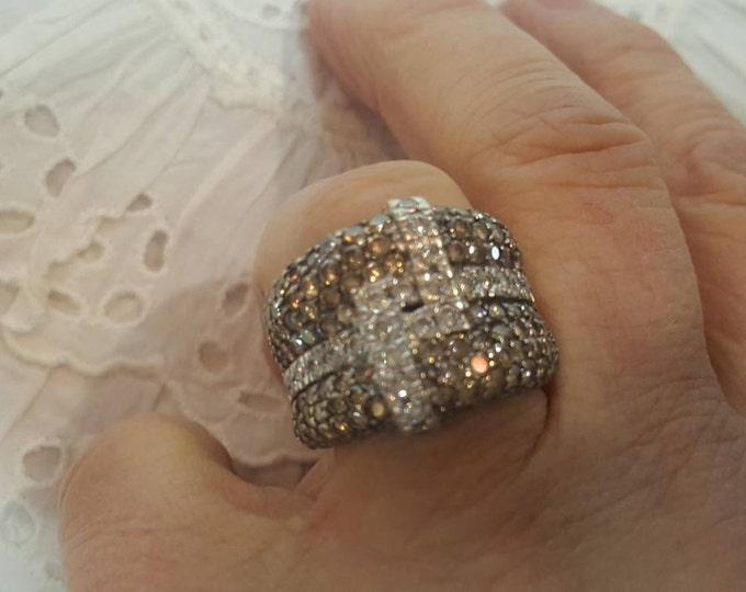 Estate Ring LeVian 18K White Gold Pavé Chocolate Diamonds and Clear Diamonds