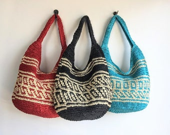Woven Straw Tote Bag // Hand Crocheted Straw Beach Bag Tote // Straw Summer Bag // Straw Tote