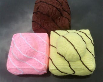 Brand New Handmade Crocheted French Fancy Pillows / Cushions Set Three Sizes and Colours.