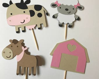 Barn Animals Cupcake Toppers - Cow, Sheep, Horse, Barn - Farm Animals Toppers - Birthday Cupcake Toppers - Cake Smash Toppers