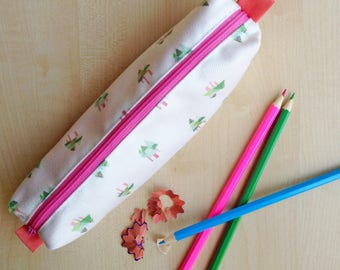 Fir Tree Print Pencil Case - Pink zip and lining