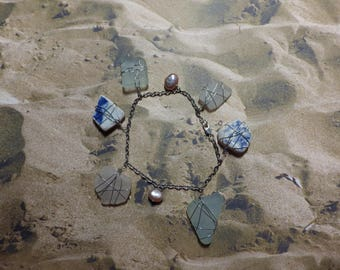LADY OF YORE sea glass, pearl, and pottery charm bracelet