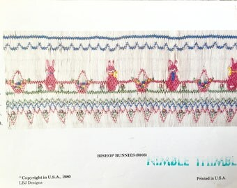 Smocking Plate Bunnies for Easter Children's Heirloom sewing patterns for Smocking Smocking plates and instructions