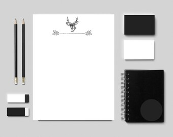 Stag Letterhead Letter Writing Set Staghead Stationery Printable Paper Digital Paper Stag Head Stationary Downloadable Paper Bogo Free