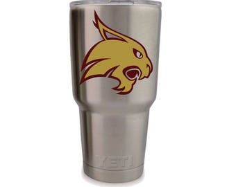 Texas State University decal, TSU decal, Bobcats decal, TSU sticker, Bobcats sticker, Texas State sticker, custom yeti cups, custom decals