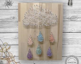 Rainy Cloud String Art - Nursery String Art, Baby Shower String Art, Nature String Art, Baby Room String Art