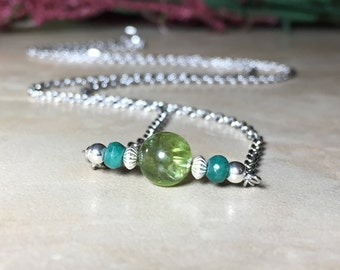 7mm Genuine Peridot Necklace, Genuine Emerald Necklace, Peridot Choker, August Birthstone, May Birthstone, Gift For Her, Healing Crystal