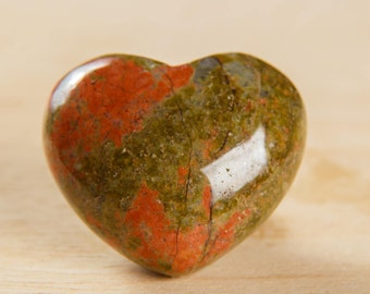 NEW Unakite Heart 35*40 mm Polished Green&Apricot Piece Authentic Stone Exclusive Natural Color Gem Best Quality