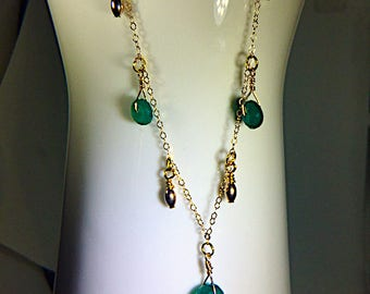Gold Necklace with Gold Beads and Green Chalcedony Rondelles