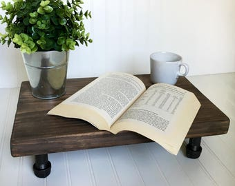 Pedestal tray, bed tray, pipe and wood centerpiece, counter shelf, pedestal stand, display stand, decorative wooden tray,