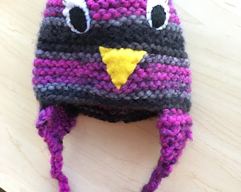 Child's Winter Hat - Owl, with Tassels
