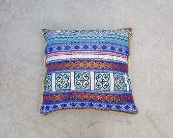 Blue Geometric Throw Pillow, Hand Embroidered Pillow, Multicolor Pillow, Boho Pillowcase, Hmong Thai Pillow, Square Cushion, Gift for Her