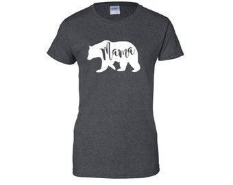 Mama Bear Ladies T-Shirt Charcoal Grey Gray White Baby Bear Family of Bears Mom Shirt