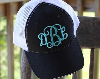 Monogram trucker hat - Personalized trucker hat - Womens monogram cap hat - Monogram hat - Embroidered monogram hat