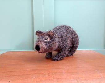 wombat needle felted animal felt wombat toy stuffed animal soft toy plush toy Australian animals felt decoration wildlife sculpture