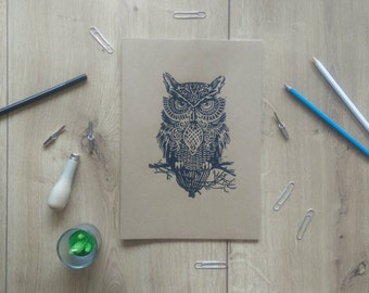 Printed notebook owl