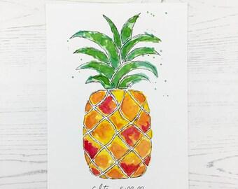 Watercolour Print, Fruit of the Spirit – Pineapple, art print, home decor, watercolor, bible art, christian art