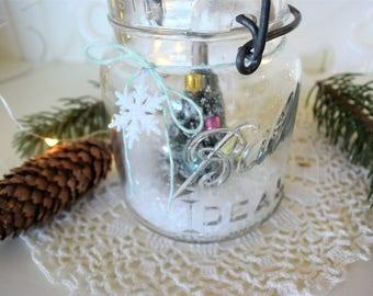 Vintage Clear Ball Bale Top Pint Christmas Tree  Waterless Snow Globe
