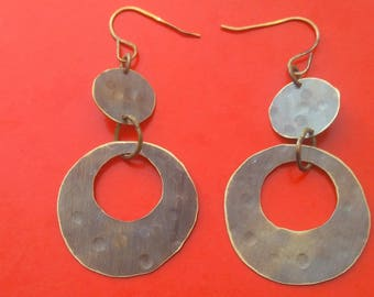 Earrings double circle antique brass