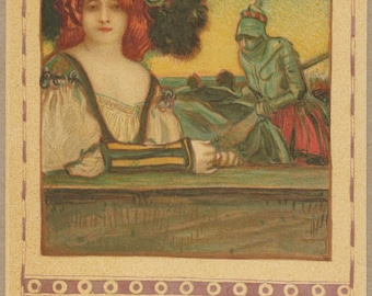 Red Lady and Her Errant Knight | 1900's French Art Postcard | Romantic Pastoral | Chivalry | Shining Armor | Turn of the Century | Antique |