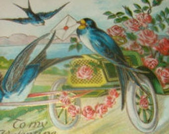Lovely Vintage Embossed Swallow Postcard