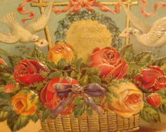 SALE Vintage Embossed Flowers/Doves Postcard