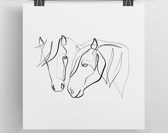 Horses Custom Art Print, One Line Drawing, Horse Home Decor, Horse Wall Art, Horse Gift, Minimal Horse