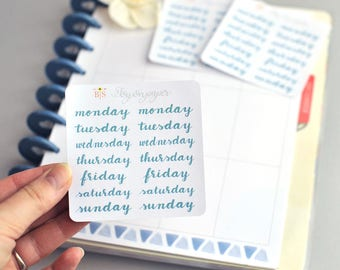 Smaller Days of the week hand lettered planner stickers in Emerald
