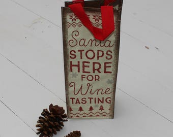 Christmas Gift Wine Tote- He Sees You When You're Drinking