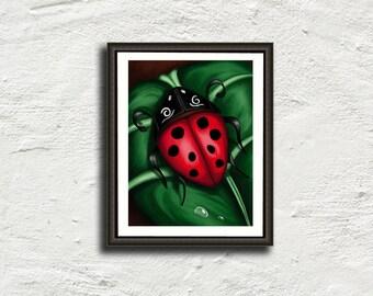 Poster Ladybug - Ladybug leaf painting - print art - Ladybug painting - wall art - several sizes to choose