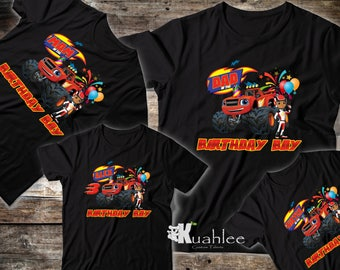 Blaze Monster Truck Boy Birthday Party Shirt, Personalized shirts, Custom Family Set Shirts, Available in BLACK for Boy