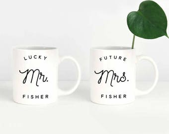 Future Mrs. Mug Set, Engagement Mug Set, Wedding Couple Mugs, Lucky Mr and  Future Mrs Mugs, Couples Mugs, Engagement Mug Gift, Mug Set