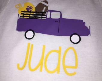 Truck, Helmet, Football, LSU, Baby Onesie, Team onesie, Customize team, Football onesie, truck onesie, LSU onesie, onesie, bodysuit