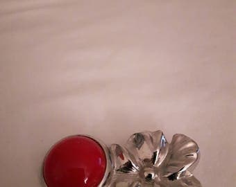 Vintage Silver Tones Brooch - Flower - With Red Cabochon - 1980s