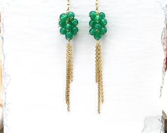 Gemstone & Gold Drop Earrings | Cluster Earrings | 14k Gold Earrings | Gemstone Earrings | Green Earrings | Long Earrings | Gift for Her