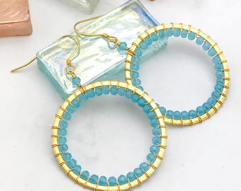 Blue and Gold Hoop Earrings   Gold Drop Earrings   Gold Earrings   Hoops   Large Hoop Earrings   Blue Earrings   Gift for Her