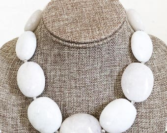 Natural White Goshenite Beryl Beaded Statement Necklace -  Very Rare One of a Kind