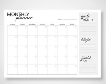 A3 Monthly monochrome planner - monochrome monthly planner - A3 Desk planner - Monthly calendar - desk calendar - desk pad - monthly planner