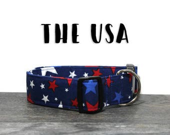 Fourth of July Dog Collar, Patriotic Dog Collar, Red White and Blue, Star Dog Collars, American Dog Collars, 4th of July Collar for Dogs