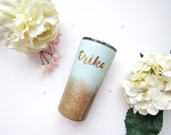 Mint and Gold Ombre Glitter Tumbler - Glitter Tumbler - Gold Tumbler - Ombre Tumbler - Mint Glitter Tumbler - Gold Glitter Tumbler - Yeti