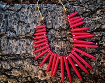 Bright Red Cascading Pendant Statement Necklace