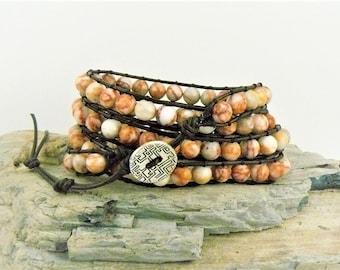 Stone Wrap Bracelet, Leather Wrap, Beaded Wrap Bracelet, Leather Bracelet, Gemstone Bracelet, Boho Chic Bracelet, Stone Bracelet, Bohemian
