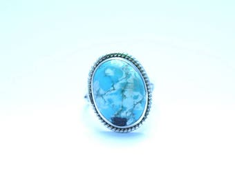 TURQUOISE Ring, Turquoise Stone Silver Ring, Turquoise Silver Ring, 92.5 sterling Silver Ring, Handmade Ring, Gypsy Ring ,  7