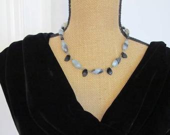 "Amazonite Gemstone Beads with Czech Glass and Swarvoski Crystals - 18"" Necklace"